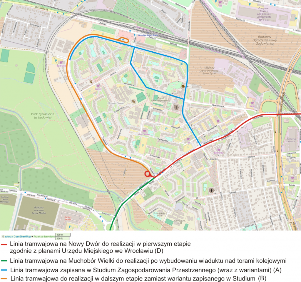 Rys. 2. Warianty budowy tramwaju na Nowy Dwór. Źródło: opracowanie własne na podstawie Open Street Maps.