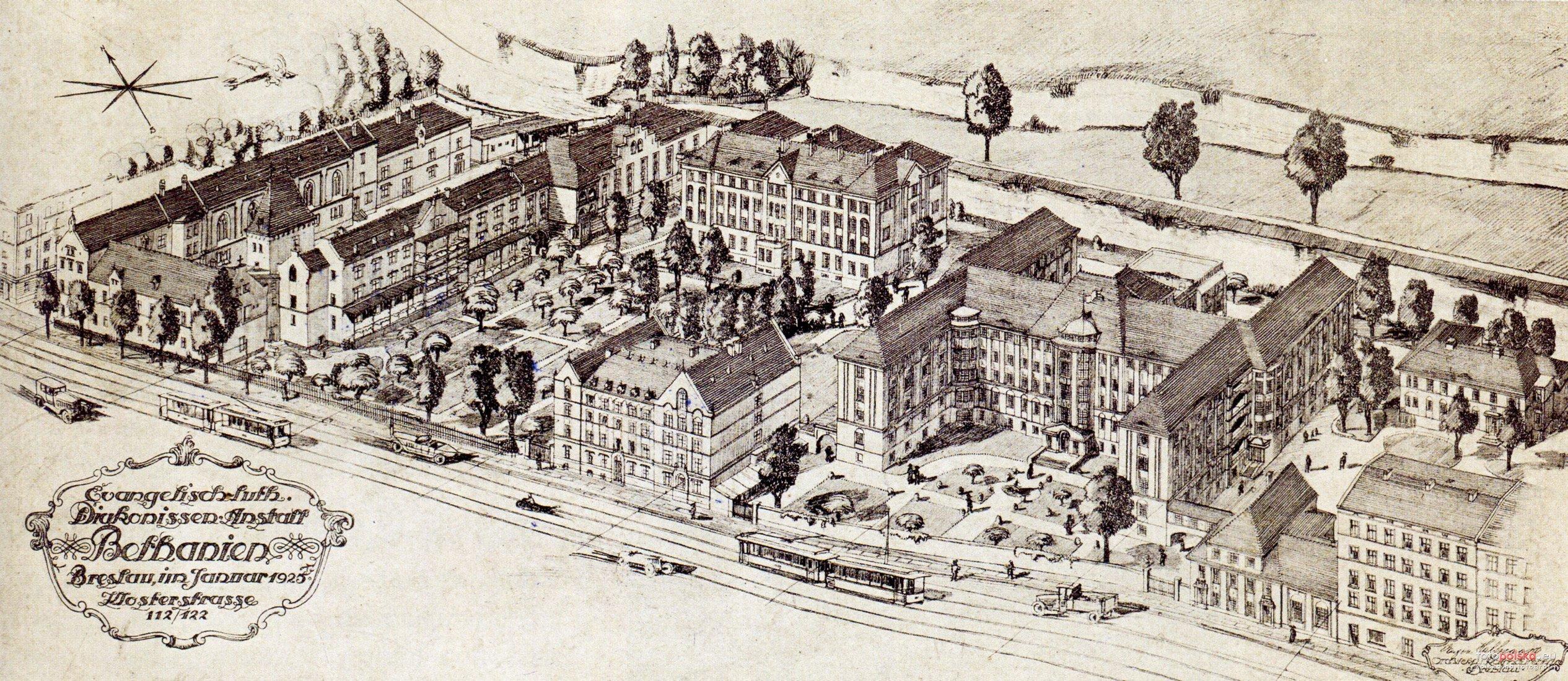 Kompleks szpitala Bethanien na rysunku z 1925 r. Źródło: fotopolska.eu