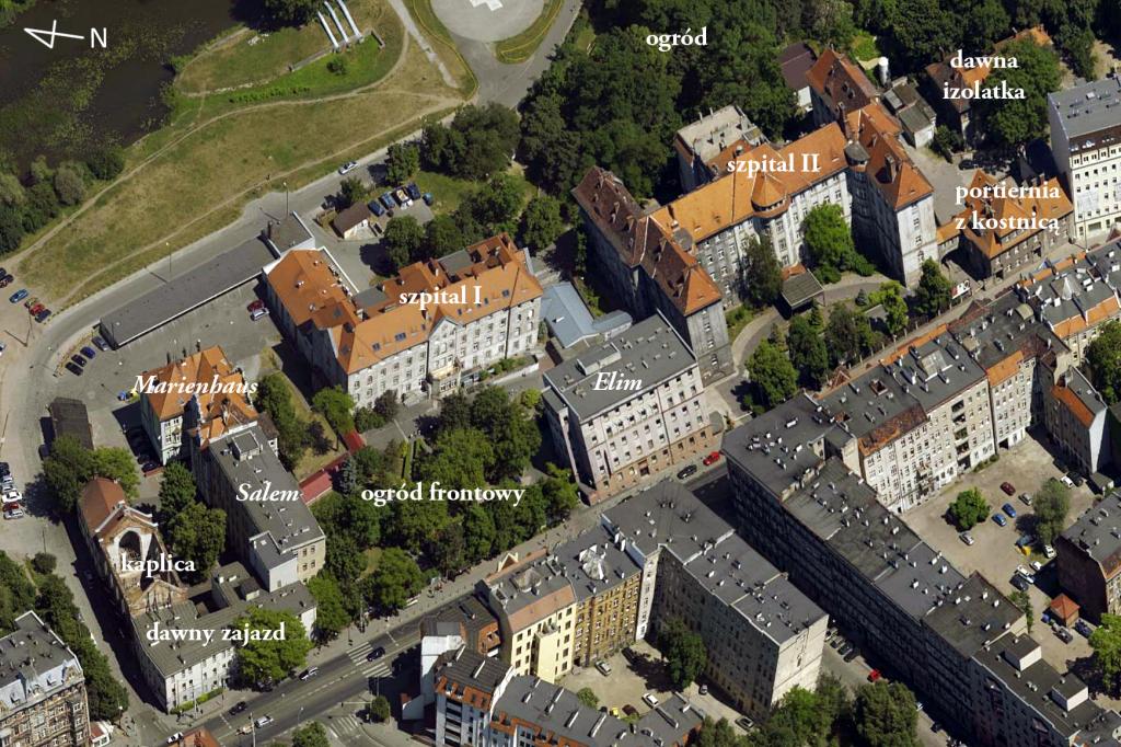 Kompleks szpitalny przy Traugutta. Źródło: ukosne.gis.um.wroc.pl; opracowanie własne