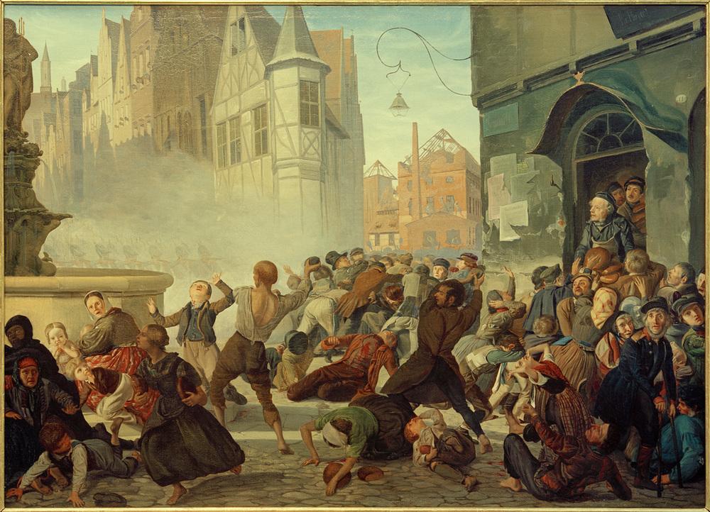 """""""Zniszczenia piekarni"""" obraz Philippa Hoyolla, 1846"""