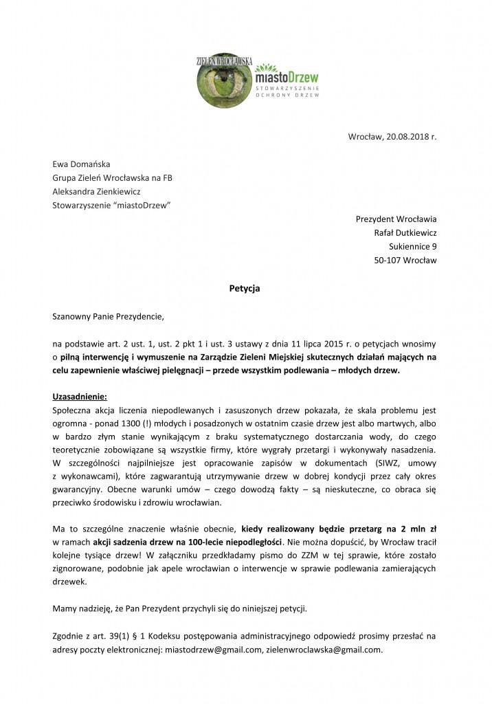petycja w sprawie podlewania drzew-1