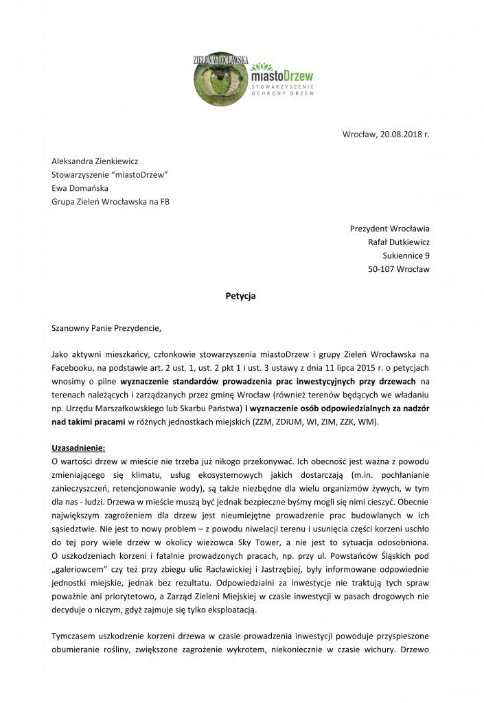 petycja w sprawie prowadzenia prac przy drzewach-1