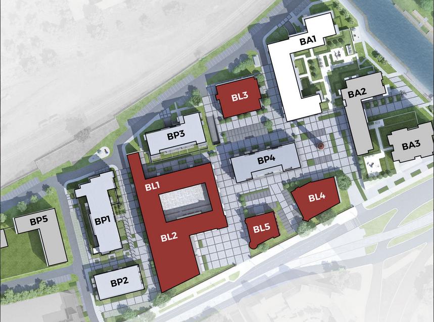 Plan nowych budynków na tle historycznych. Materiały inwestora (Archicom)